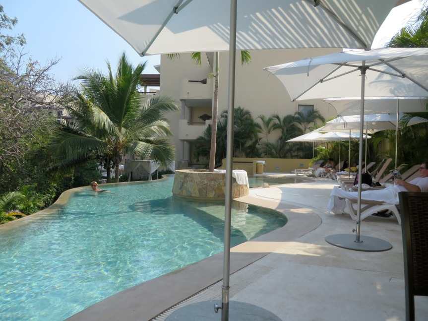 The pool area at Celeste Spa, Huatulco
