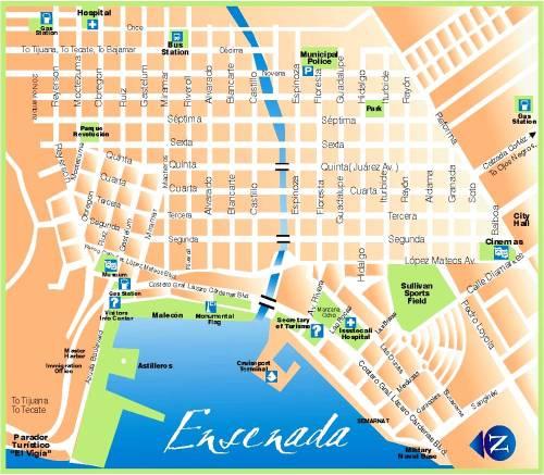 Ensenada Map, Dave Miller's Mexico, Ensenada